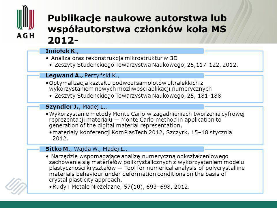Publikacje naukowe autorstwa lub współautorstwa członków koła MS 2012- Analiza oraz rekonstrukcja mikrostruktur w 3D Zeszyty Studenckiego Towarzystwa Naukowego, 25,117-122, 2012.