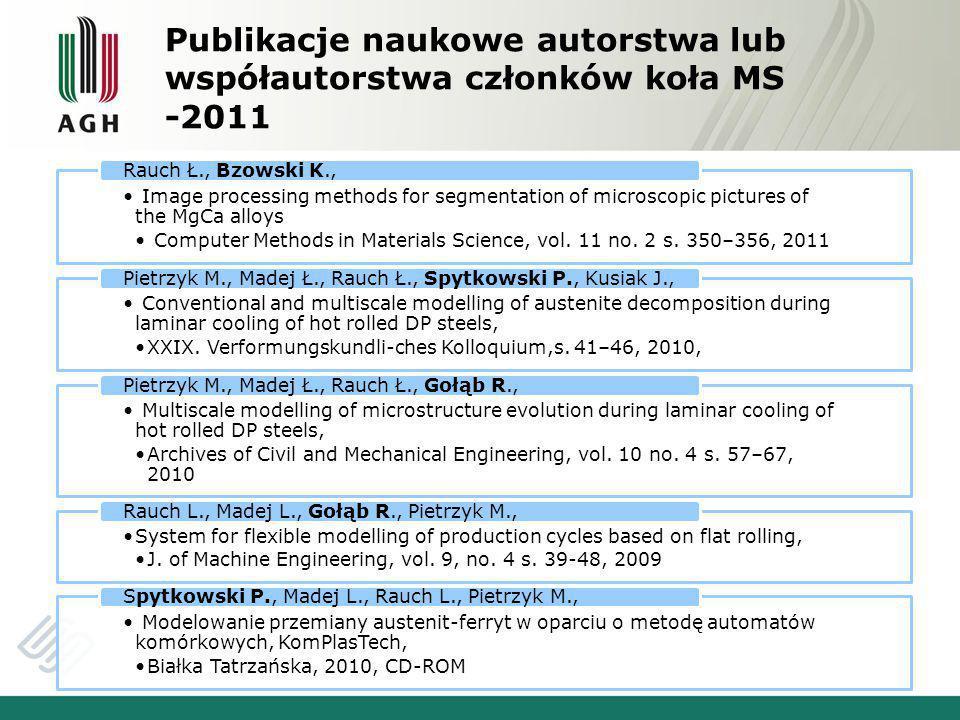 Publikacje naukowe autorstwa lub współautorstwa członków koła MS -2011 Image processing methods for segmentation of microscopic pictures of the MgCa alloys Computer Methods in Materials Science, vol.