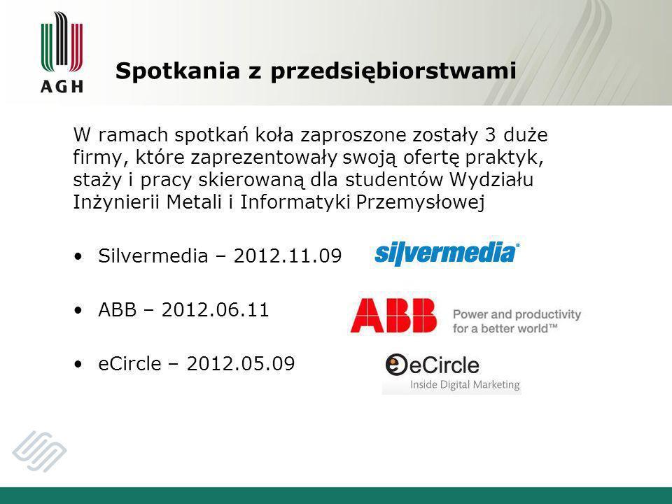 Spotkania z przedsiębiorstwami W ramach spotkań koła zaproszone zostały 3 duże firmy, które zaprezentowały swoją ofertę praktyk, staży i pracy skierowaną dla studentów Wydziału Inżynierii Metali i Informatyki Przemysłowej Silvermedia – 2012.11.09 ABB – 2012.06.11 eCircle – 2012.05.09
