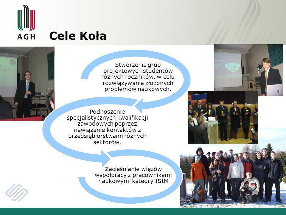 Cele Koła Stworzenie grup projektowych studentów różnych roczników, w celu rozwiązywania złożonych problemów naukowych.