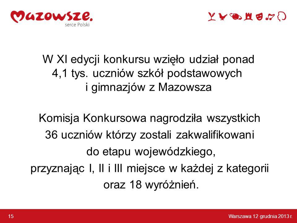 Warszawa 12 grudnia 2013 r. 15 W XI edycji konkursu wzięło udział ponad 4,1 tys. uczniów szkół podstawowych i gimnazjów z Mazowsza Komisja Konkursowa