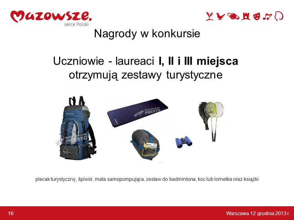 Warszawa 12 grudnia 2013 r. 16 Nagrody w konkursie plecak turystyczny, śpiwór, mata samopompująca, zestaw do badmintona, koc lub lornetka oraz książki