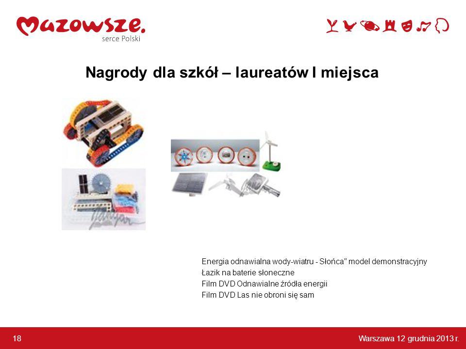 Warszawa 12 grudnia 2013 r. 18 Energia odnawialna wody-wiatru - Słońca