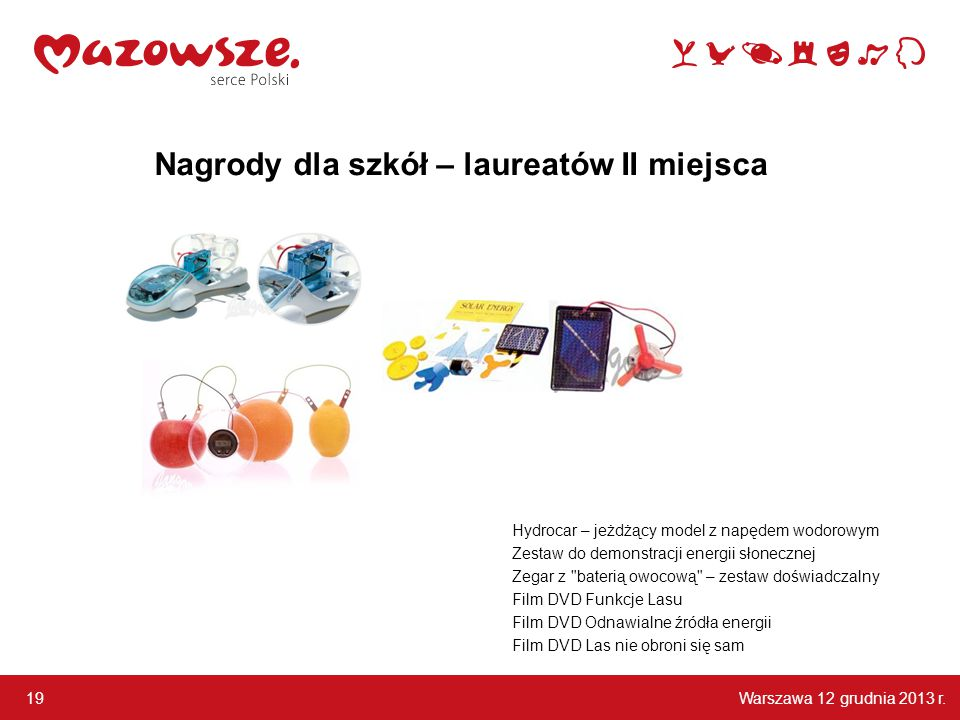 Warszawa 12 grudnia 2013 r. 19 Hydrocar – jeżdżący model z napędem wodorowym Zestaw do demonstracji energii słonecznej Zegar z