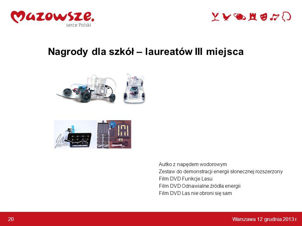 Warszawa 12 grudnia 2013 r. 20 Autko z napędem wodorowym Zestaw do demonstracji energii słonecznej rozszerzony Film DVD Funkcje Lasu Film DVD Odnawial