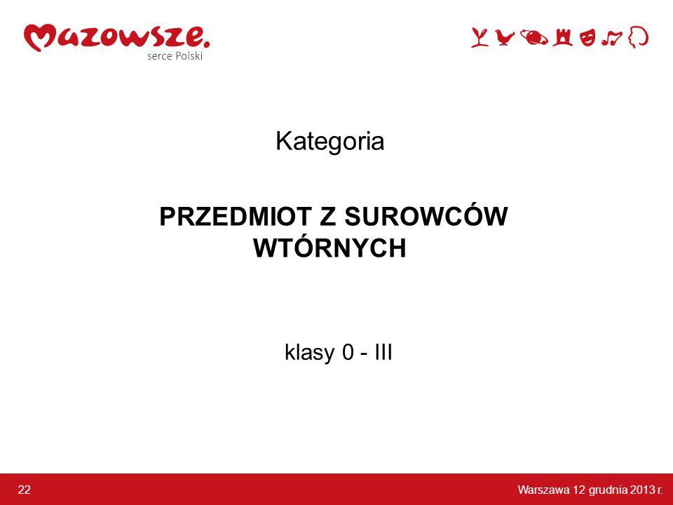 Warszawa 12 grudnia 2013 r. 22 klasy 0 - III Kategoria PRZEDMIOT Z SUROWCÓW WTÓRNYCH