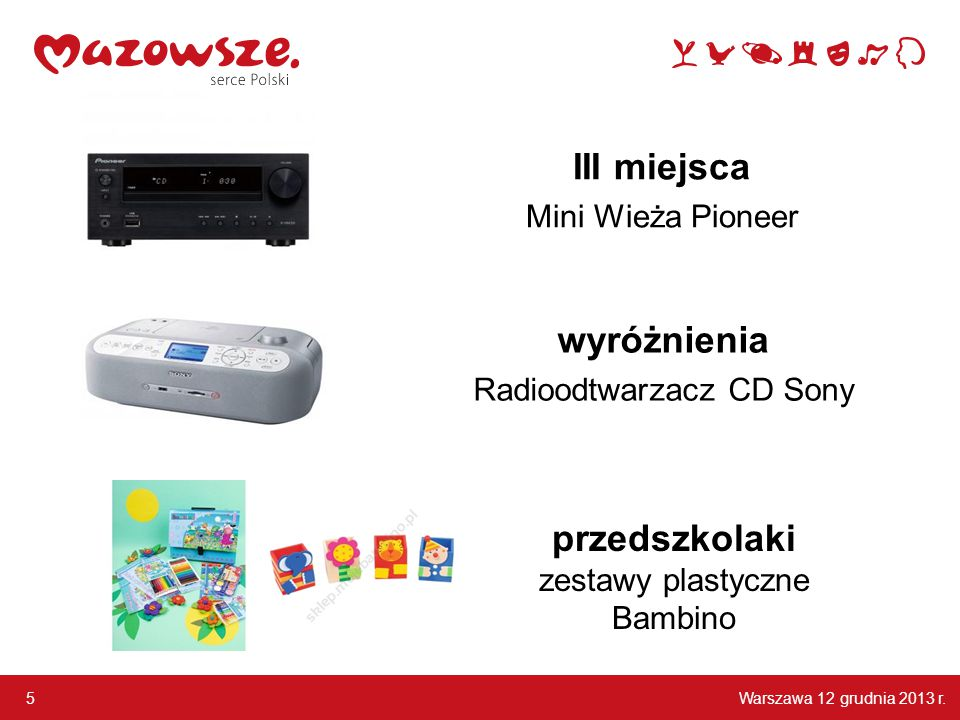 Warszawa 12 grudnia 2013 r. 5 III miejsca Mini Wieża Pioneer wyróżnienia Radioodtwarzacz CD Sony przedszkolaki zestawy plastyczne Bambino
