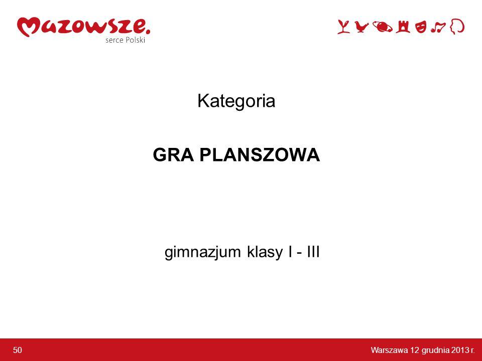 Warszawa 12 grudnia 2013 r. 50 gimnazjum klasy I - III Kategoria GRA PLANSZOWA