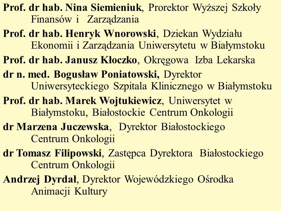 Prof. dr hab. Nina Siemieniuk, Prorektor Wyższej Szkoły Finansów i Zarządzania Prof. dr hab. Henryk Wnorowski, Dziekan Wydziału Ekonomii i Zarządzania