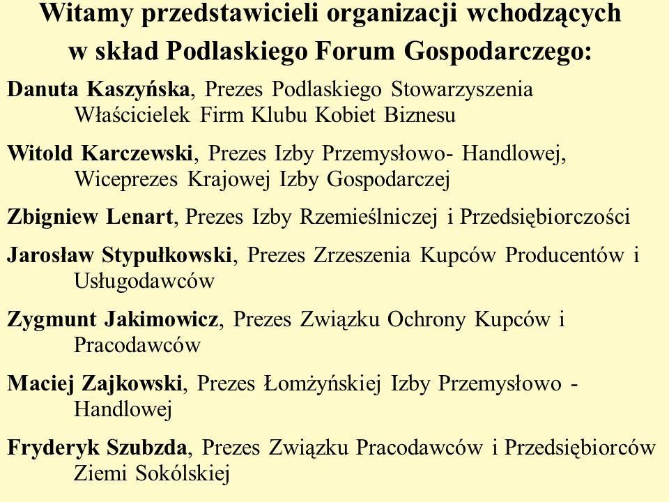 Witamy przedstawicieli organizacji wchodzących w skład Podlaskiego Forum Gospodarczego: Danuta Kaszyńska, Prezes Podlaskiego Stowarzyszenia Właściciel