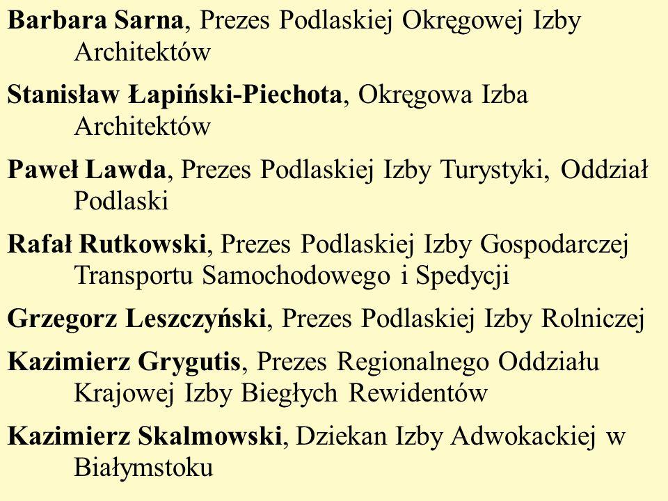 Barbara Sarna, Prezes Podlaskiej Okręgowej Izby Architektów Stanisław Łapiński-Piechota, Okręgowa Izba Architektów Paweł Lawda, Prezes Podlaskiej Izby
