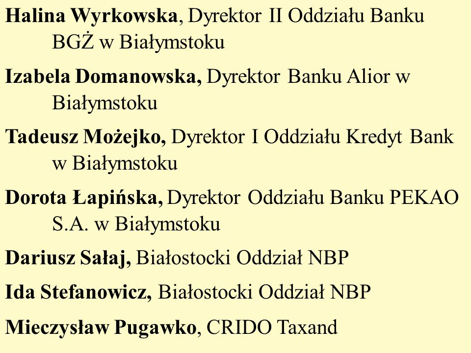 Halina Wyrkowska, Dyrektor II Oddziału Banku BGŻ w Białymstoku Izabela Domanowska, Dyrektor Banku Alior w Białymstoku Tadeusz Możejko, Dyrektor I Oddz
