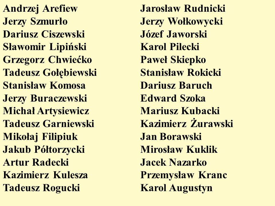 Andrzej Arefiew Jerzy Szmurło Dariusz Ciszewski Sławomir Lipiński Grzegorz Chwiećko Tadeusz Gołębiewski Stanisław Komosa Jerzy Buraczewski Michał Arty