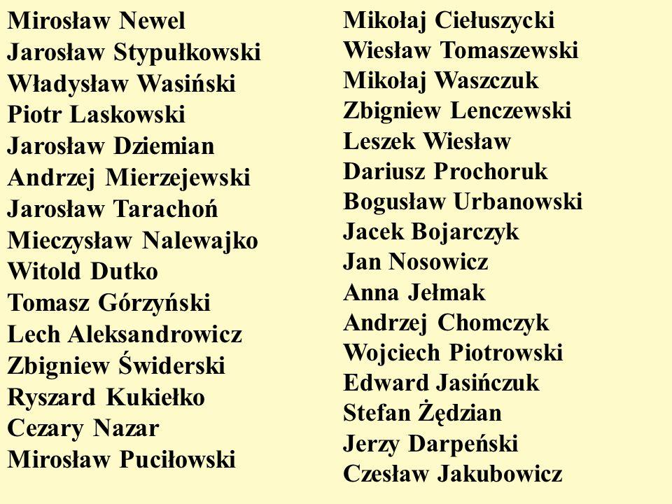 Mirosław Newel Jarosław Stypułkowski Władysław Wasiński Piotr Laskowski Jarosław Dziemian Andrzej Mierzejewski Jarosław Tarachoń Mieczysław Nalewajko