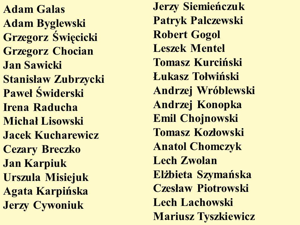 Adam Galas Adam Byglewski Grzegorz Święcicki Grzegorz Chocian Jan Sawicki Stanisław Zubrzycki Paweł Świderski Irena Raducha Michał Lisowski Jacek Kuch