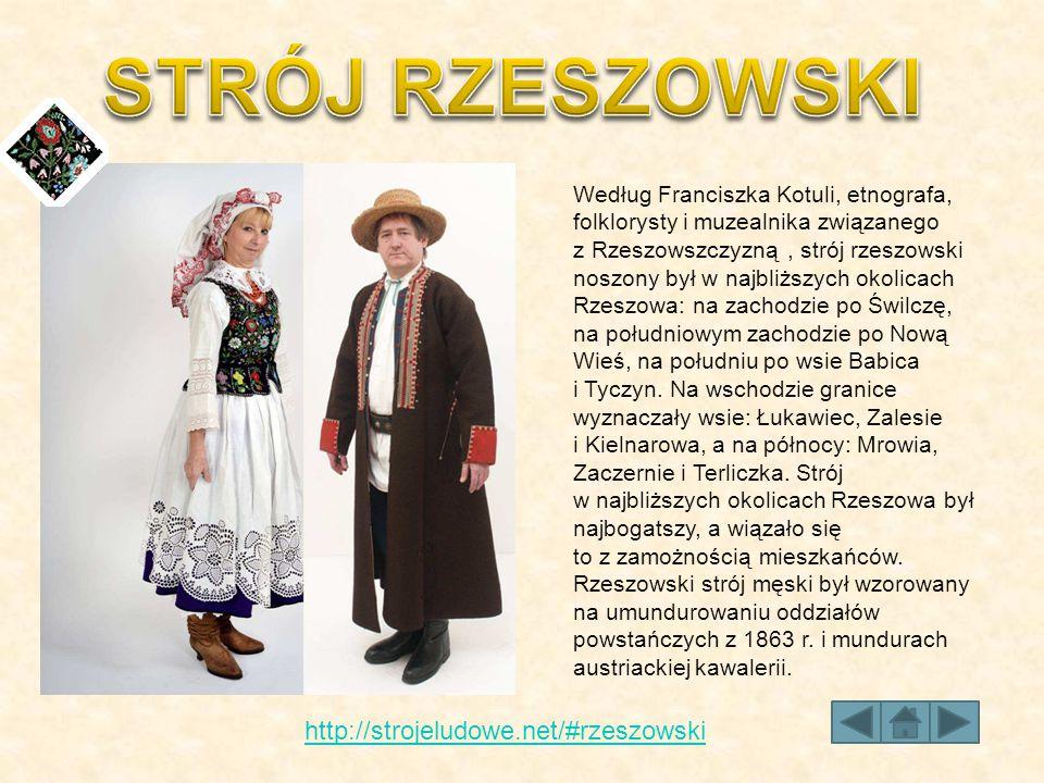 Według Franciszka Kotuli, etnografa, folklorysty i muzealnika związanego z Rzeszowszczyzną, strój rzeszowski noszony był w najbliższych okolicach Rzes