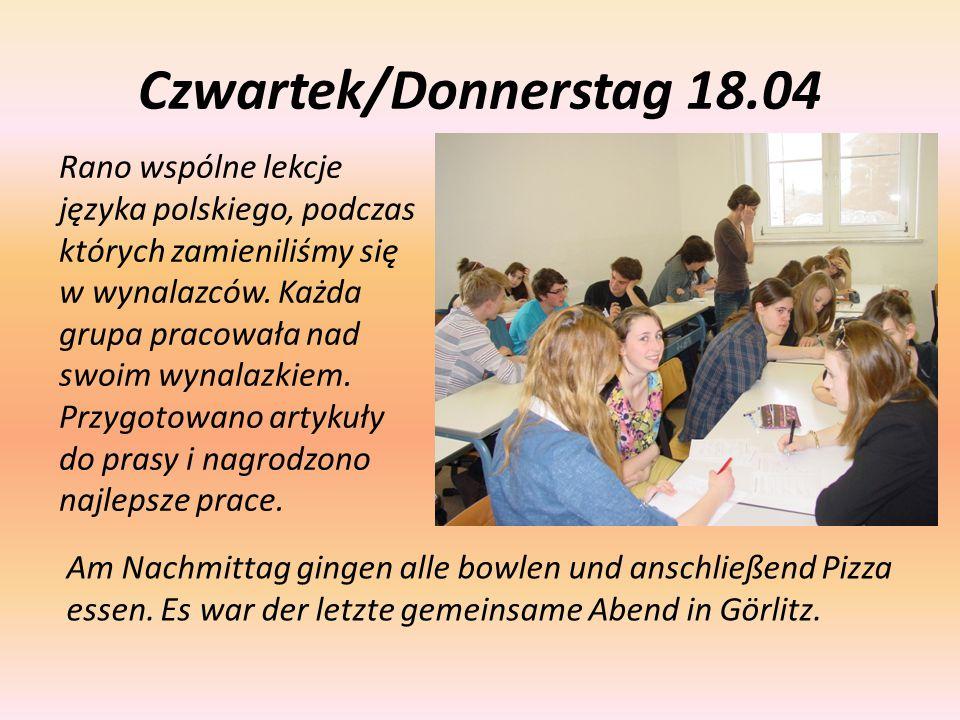 Czwartek/Donnerstag 18.04 Rano wspólne lekcje języka polskiego, podczas których zamieniliśmy się w wynalazców. Każda grupa pracowała nad swoim wynalaz