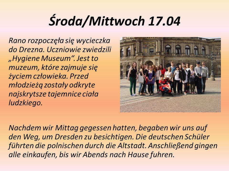"""Środa/Mittwoch 17.04 Rano rozpoczęła się wycieczka do Drezna. Uczniowie zwiedzili """"Hygiene Museum"""". Jest to muzeum, które zajmuje się życiem człowieka"""
