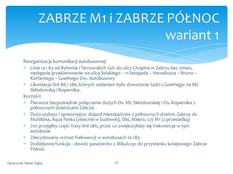 Reorganizacja komunikacji autobusowej:  Linia 14 i 83 od Bytomia i Tarnowskich Gór do ulicy Chopina w Zabrzu bez zmian, następnie przekierowanie na ulicę Solskiego – 11 listopada – Heweliusza – Bruno – Korfantego – Goethego Dw.
