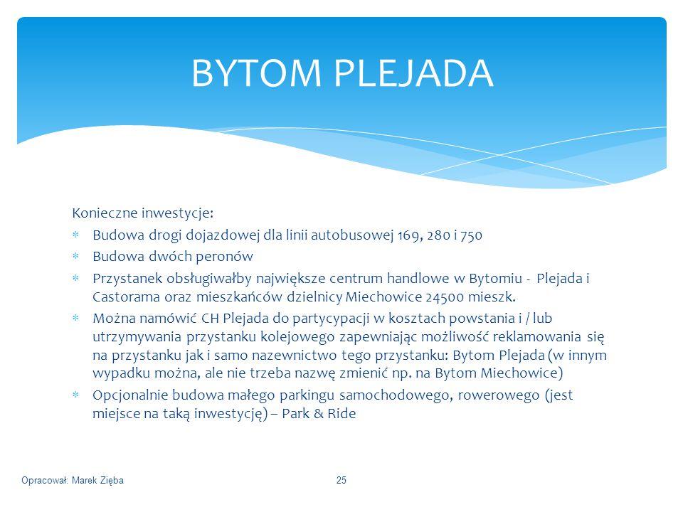 Konieczne inwestycje:  Budowa drogi dojazdowej dla linii autobusowej 169, 280 i 750  Budowa dwóch peronów  Przystanek obsługiwałby największe centrum handlowe w Bytomiu - Plejada i Castorama oraz mieszkańców dzielnicy Miechowice 24500 mieszk.