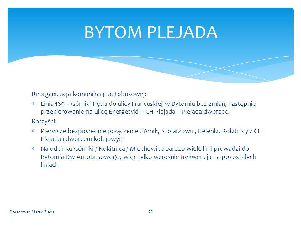 Reorganizacja komunikacji autobusowej:  Linia 169 – Górniki Pętla do ulicy Francuskiej w Bytomiu bez zmian, następnie przekierowanie na ulicę Energetyki – CH Plejada – Plejada dworzec.
