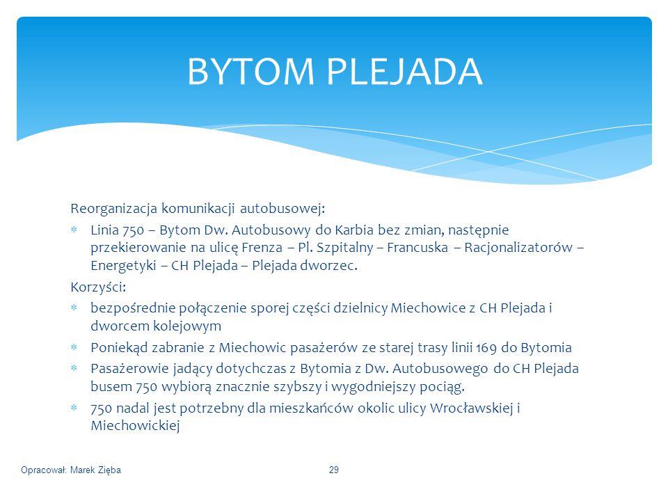 Reorganizacja komunikacji autobusowej:  Linia 750 – Bytom Dw.
