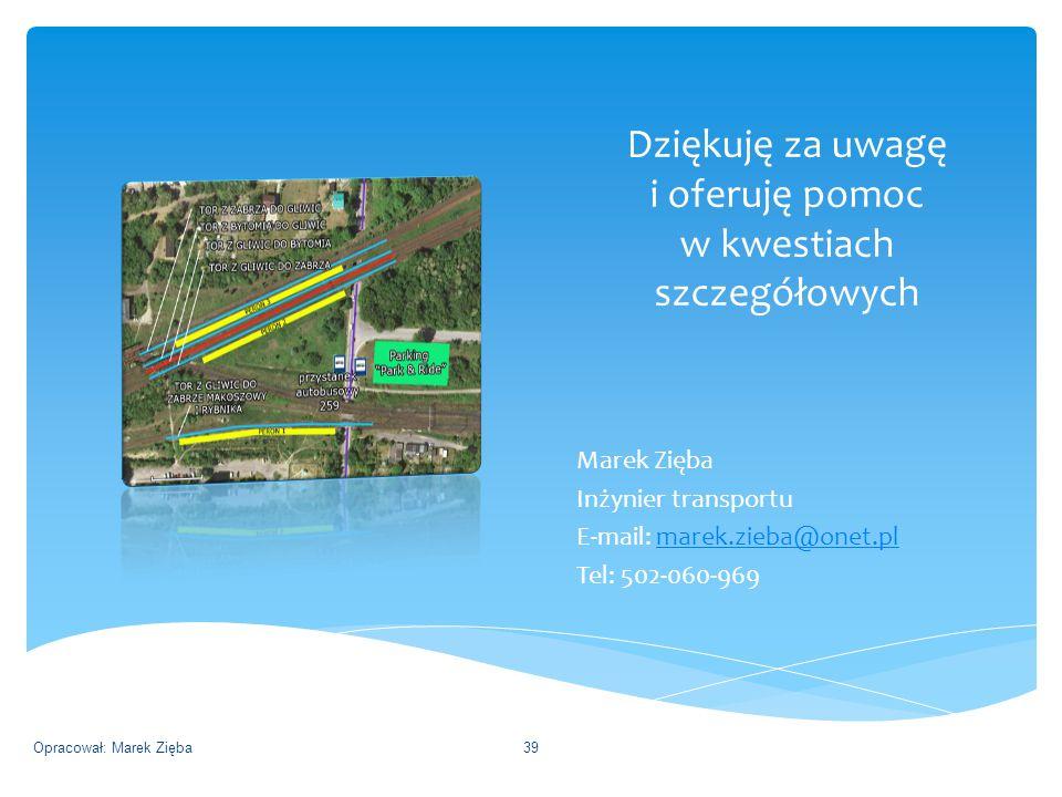 Dziękuję za uwagę i oferuję pomoc w kwestiach szczegółowych Marek Zięba Inżynier transportu E-mail: marek.zieba@onet.plmarek.zieba@onet.pl Tel: 502-060-969 Opracował: Marek Zięba39