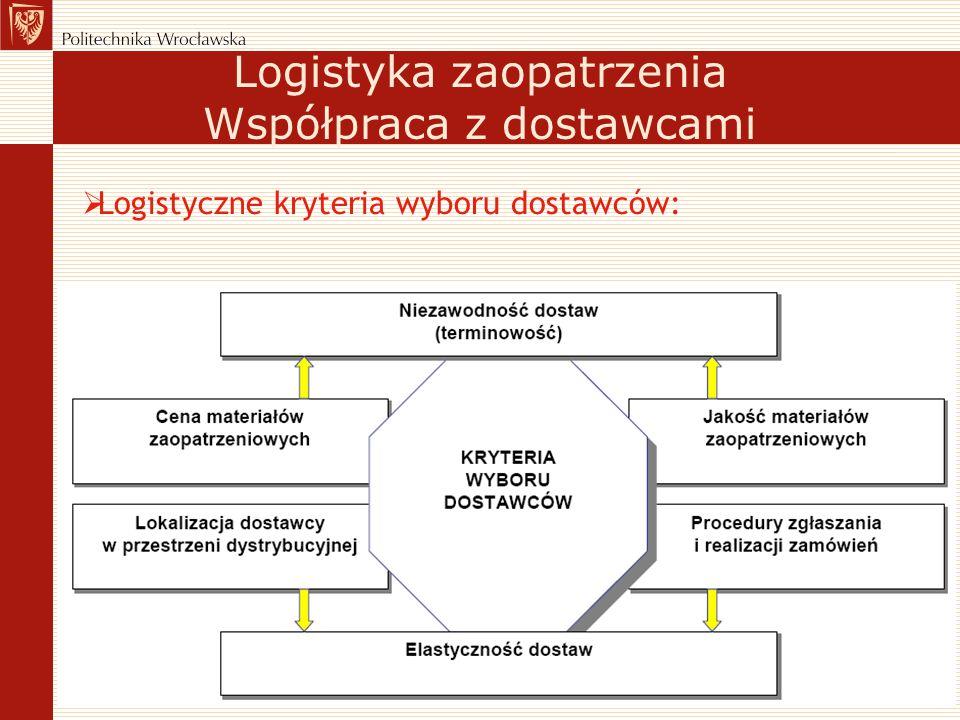  Logistyczne kryteria wyboru dostawców: