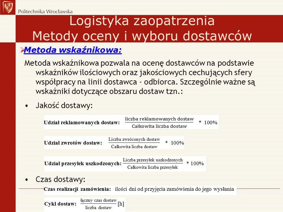 Metoda wskaźnikowa pozwala na ocenę dostawców na podstawie wskaźników ilościowych oraz jakościowych cechujących sfery współpracy na linii dostawca - o