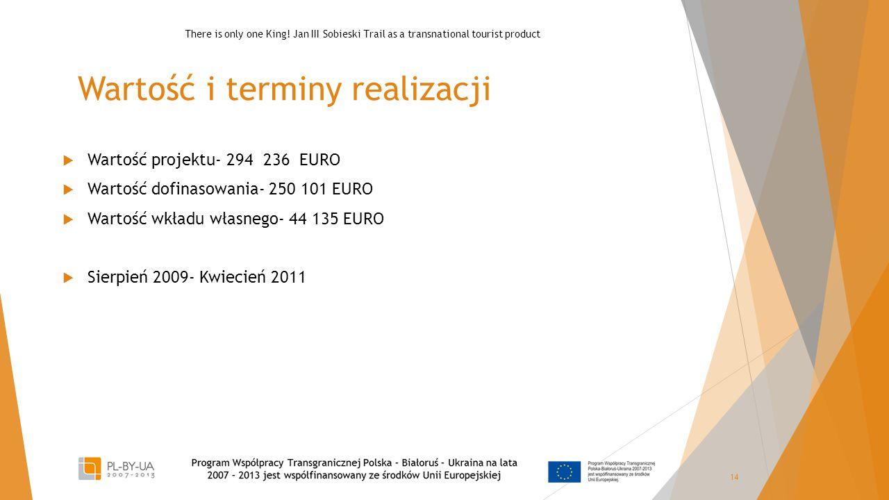 Wartość i terminy realizacji  Wartość projektu- 294 236 EURO  Wartość dofinasowania- 250 101 EURO  Wartość wkładu własnego- 44 135 EURO  Sierpień