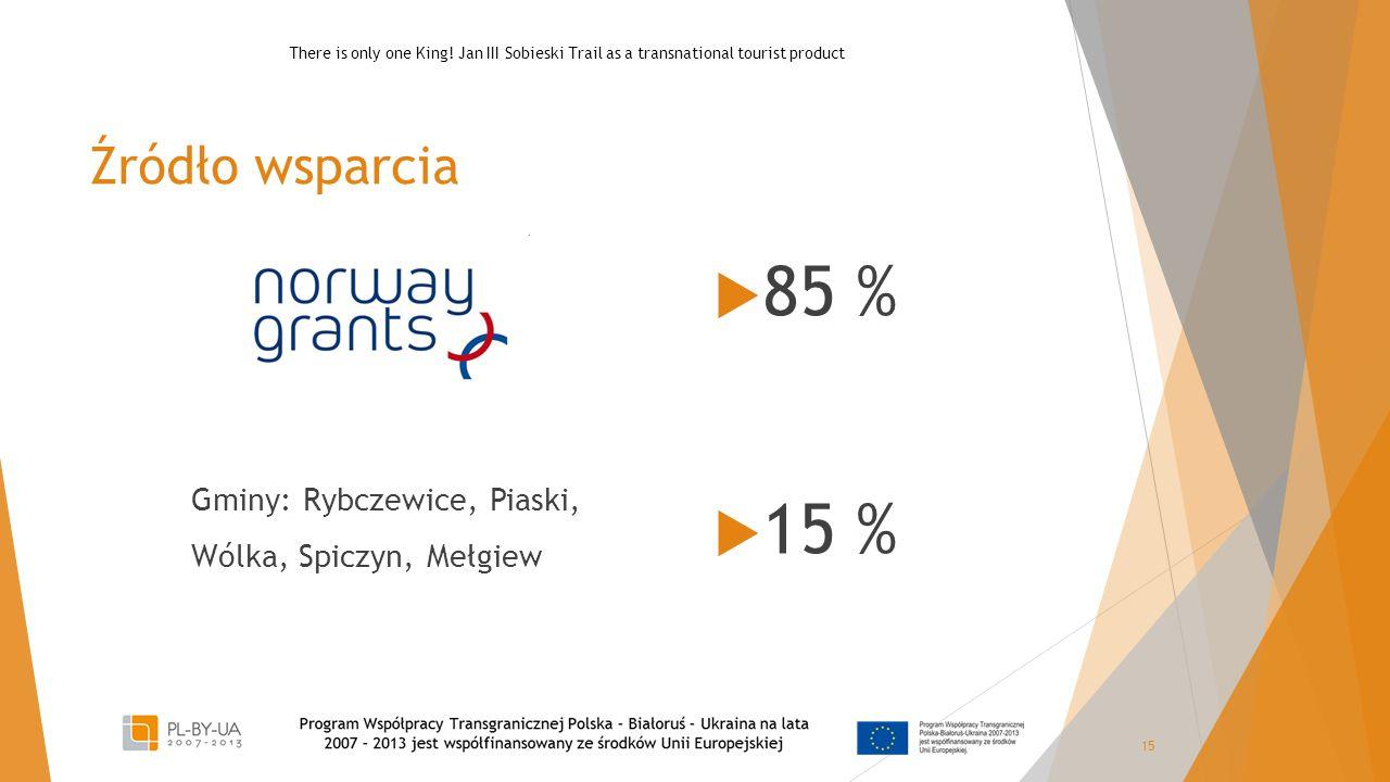 Źródło wsparcia Gminy: Rybczewice, Piaski, Wólka, Spiczyn, Mełgiew  85 %  15 % 15 There is only one King! Jan III Sobieski Trail as a transnational