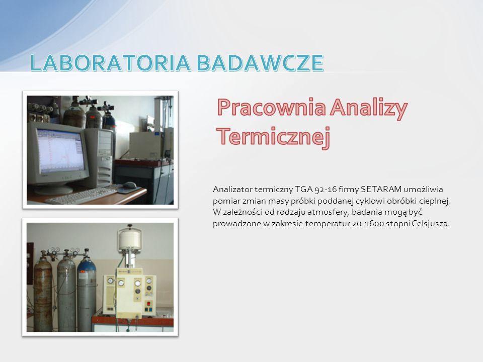 Analizator termiczny TGA 92-16 firmy SETARAM umożliwia pomiar zmian masy próbki poddanej cyklowi obróbki cieplnej. W zależności od rodzaju atmosfery,