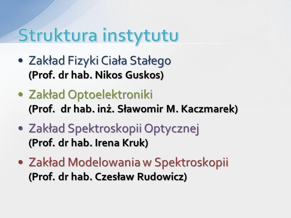 Zakład Fizyki Ciała Stałego (Prof. dr hab. Nikos Guskos)Zakład Fizyki Ciała Stałego (Prof. dr hab. Nikos Guskos) Zakład Optoelektroniki (Prof. dr hab.