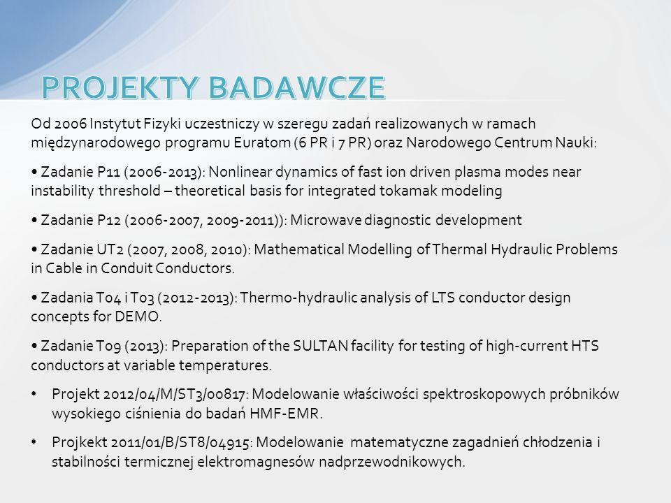 Od 2006 Instytut Fizyki uczestniczy w szeregu zadań realizowanych w ramach międzynarodowego programu Euratom (6 PR i 7 PR) oraz Narodowego Centrum Nau