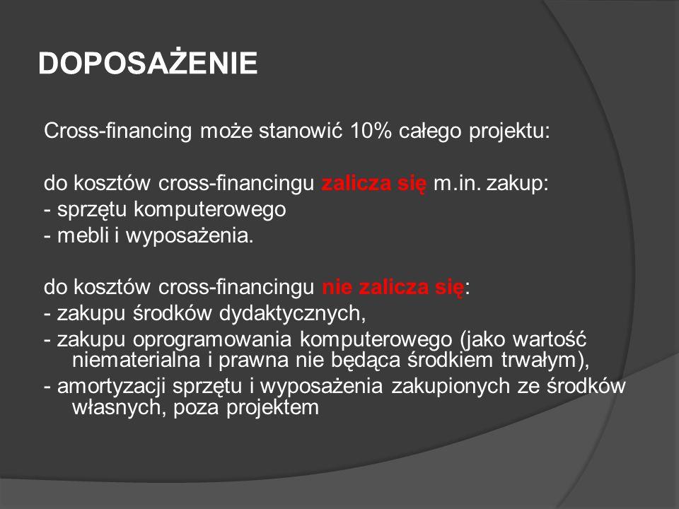 DOPOSAŻENIE Cross-financing może stanowić 10% całego projektu: do kosztów cross-financingu zalicza się m.in. zakup: - sprzętu komputerowego - mebli i