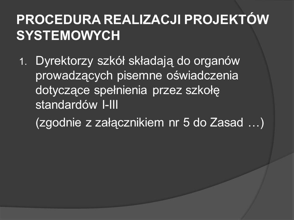 PROCEDURA REALIZACJI PROJEKTÓW SYSTEMOWYCH 1.