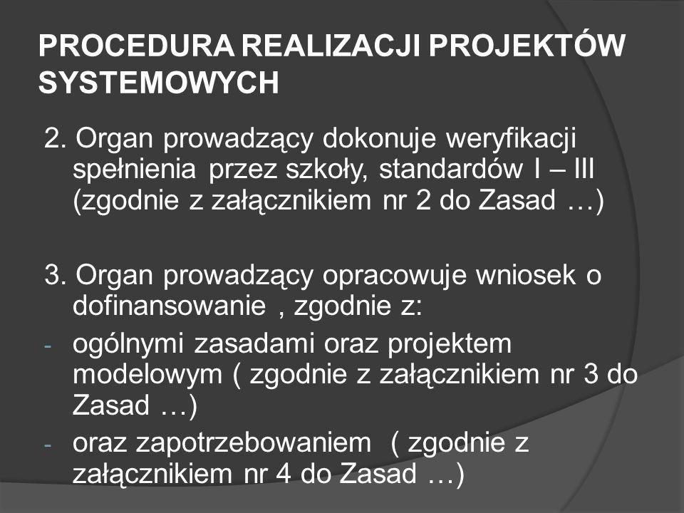 PROCEDURA REALIZACJI PROJEKTÓW SYSTEMOWYCH 2. Organ prowadzący dokonuje weryfikacji spełnienia przez szkoły, standardów I – III (zgodnie z załącznikie