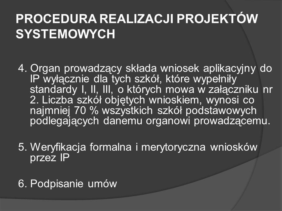 PROCEDURA REALIZACJI PROJEKTÓW SYSTEMOWYCH 4. Organ prowadzący składa wniosek aplikacyjny do IP wyłącznie dla tych szkół, które wypełniły standardy I,