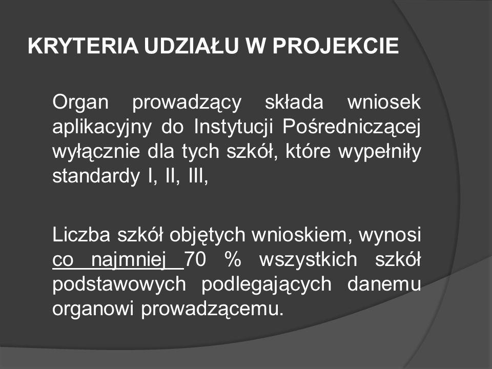 KRYTERIA UDZIAŁU W PROJEKCIE Organ prowadzący składa wniosek aplikacyjny do Instytucji Pośredniczącej wyłącznie dla tych szkół, które wypełniły standa