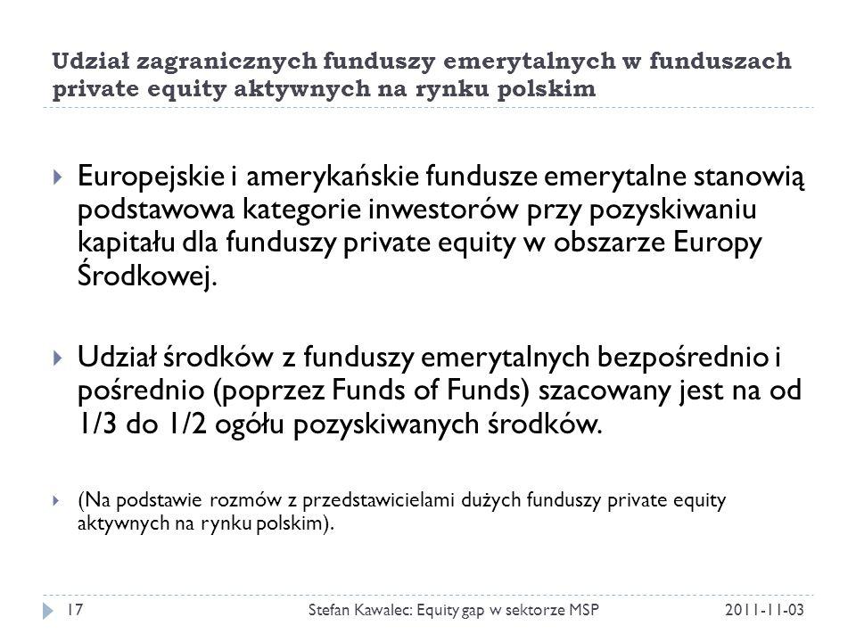 Udział zagranicznych funduszy emerytalnych w funduszach private equity aktywnych na rynku polskim 2011-11-03Stefan Kawalec: Equity gap w sektorze MSP17  Europejskie i amerykańskie fundusze emerytalne stanowią podstawowa kategorie inwestorów przy pozyskiwaniu kapitału dla funduszy private equity w obszarze Europy Środkowej.