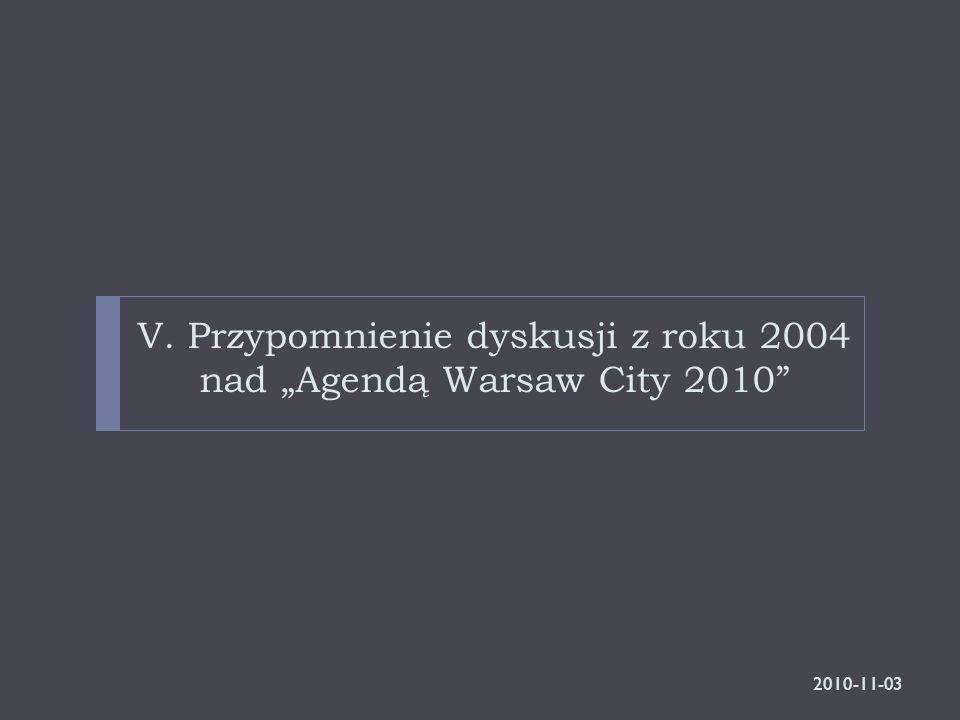 """V. Przypomnienie dyskusji z roku 2004 nad """"Agendą Warsaw City 2010"""" 2010-11-03"""