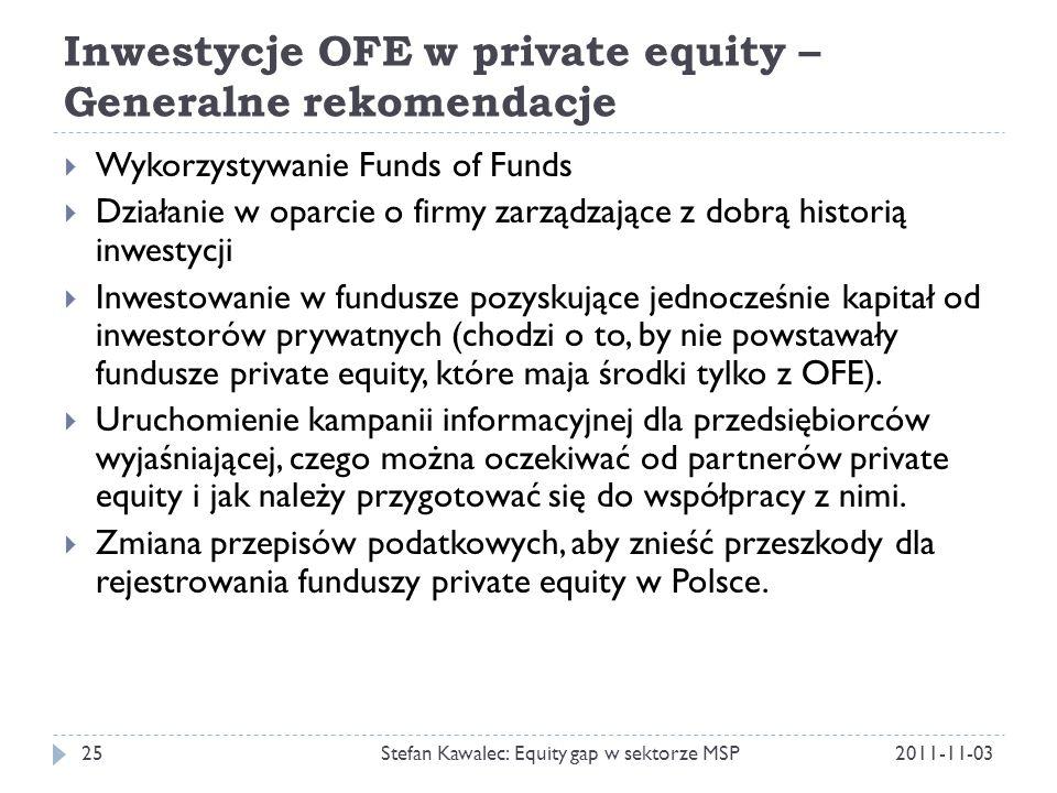 Inwestycje OFE w private equity – Generalne rekomendacje 2011-11-03Stefan Kawalec: Equity gap w sektorze MSP25  Wykorzystywanie Funds of Funds  Dzia