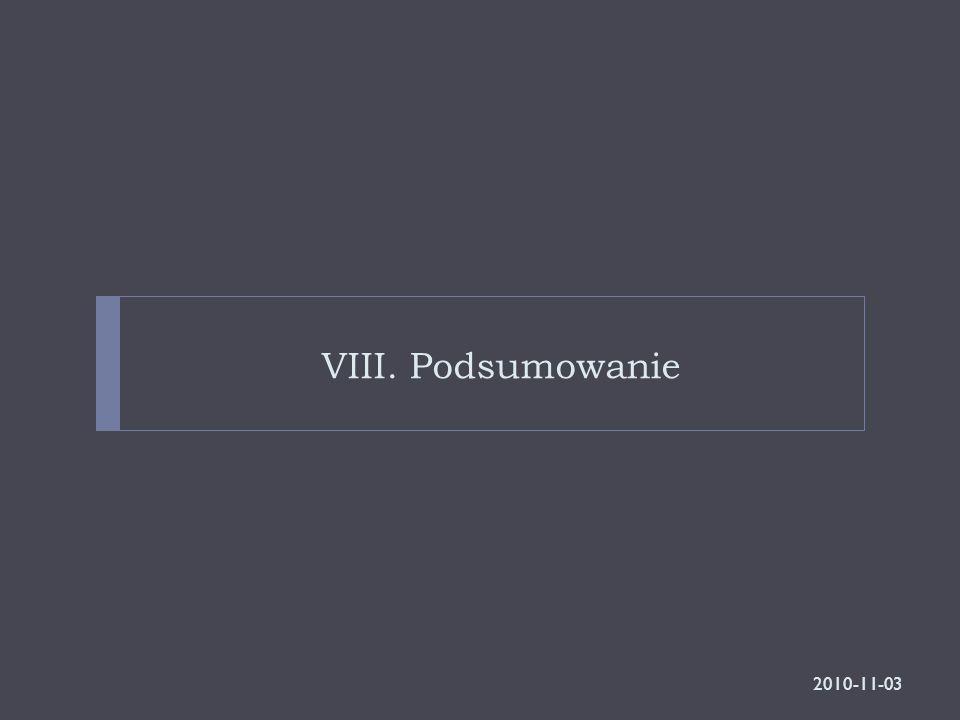 VIII. Podsumowanie 2010-11-03