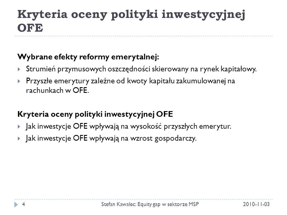 Czynniki bezpośrednio wpływające na wysokość emerytur z OFE 2010-11-03Stefan Kawalec: Equity gap w sektorze MSP5 Kwota wpłaconych składek Stopa zwrotu z inwestycji Opłaty pobierane przez PTE System wypłat emerytur (zamieniający zgromadzony kapitał na comiesięczną wypłatę emerytury) Wysokość emerytur wypłacanych z OFE