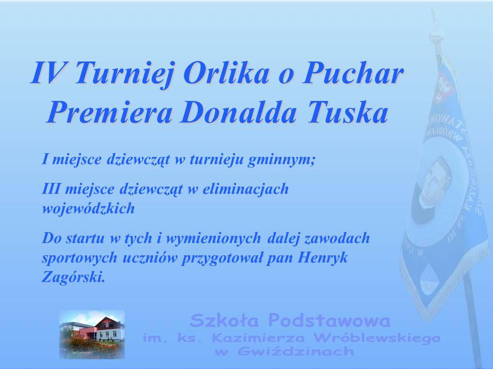 IV Turniej Orlika o Puchar Premiera Donalda Tuska I miejsce dziewcząt w turnieju gminnym; III miejsce dziewcząt w eliminacjach wojewódzkich Do startu