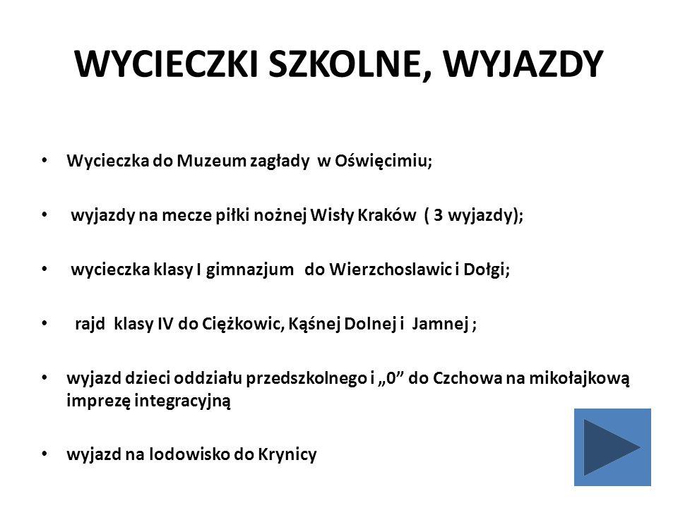 WYCIECZKI SZKOLNE, WYJAZDY Wycieczka do Muzeum zagłady w Oświęcimiu; wyjazdy na mecze piłki nożnej Wisły Kraków ( 3 wyjazdy); wycieczka klasy I gimnaz