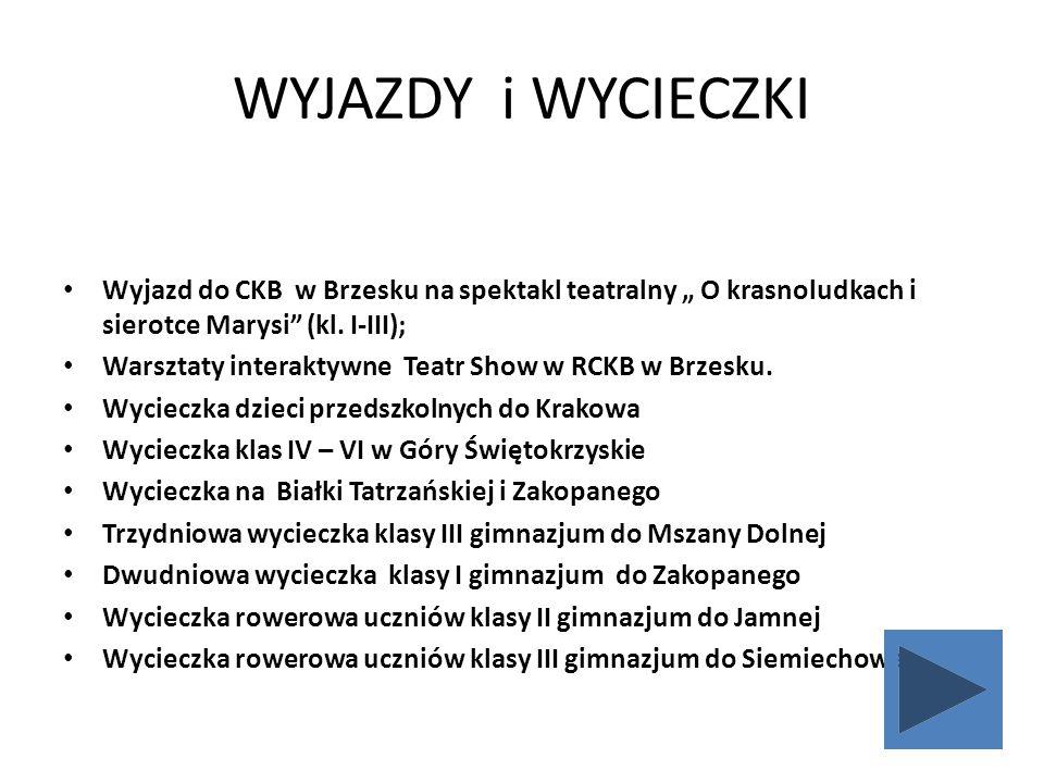 """WYJAZDY i WYCIECZKI Wyjazd do CKB w Brzesku na spektakl teatralny """" O krasnoludkach i sierotce Marysi"""" (kl. I-III); Warsztaty interaktywne Teatr Show"""
