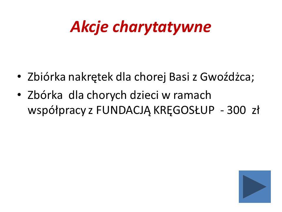 Akcje charytatywne Zbiórka nakrętek dla chorej Basi z Gwoźdżca; Zbórka dla chorych dzieci w ramach współpracy z FUNDACJĄ KRĘGOSŁUP - 300 zł