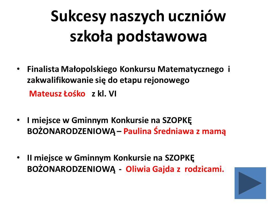 Sukcesy naszych uczniów szkoła podstawowa Finalista Małopolskiego Konkursu Matematycznego i zakwalifikowanie się do etapu rejonowego Mateusz Łośko z kl.