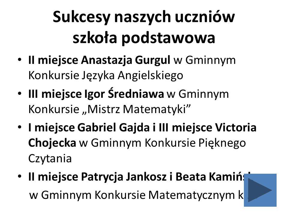 Sukcesy naszych uczniów szkoła podstawowa II miejsce Anastazja Gurgul w Gminnym Konkursie Języka Angielskiego III miejsce Igor Średniawa w Gminnym Kon